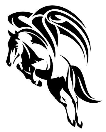 caballo saltando: diseño del caballo alado - tribal Pegaso ilustración estilo blanco y negro