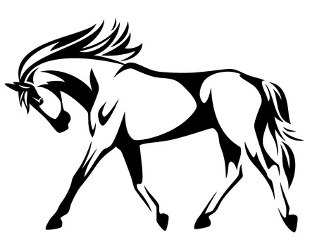 animals outline:  trotting horse black and white vector outline - side view