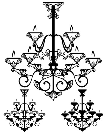 elegant chandelier vector design set - fine outlines and silhouette Vector