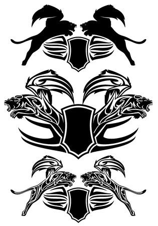 leon con alas: alado diseño león de la fantasía - Escudos heráldicos de vectores emblemas - colección blanco y negro