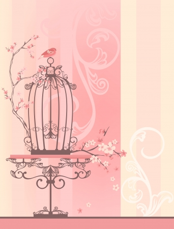 birdcage: vintage style spring season room with bird cage - tender pastel shades of pink and yellow with place for your text Illustration