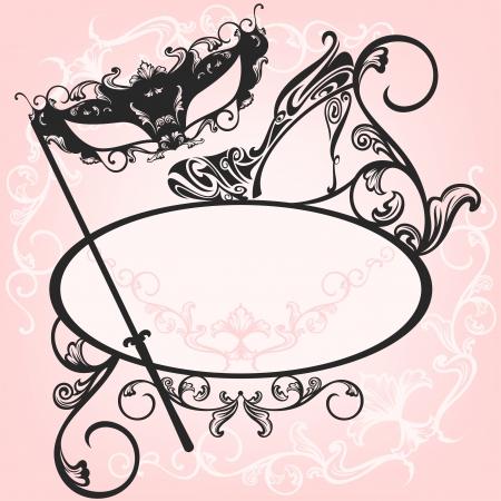 ovalo: invitación a la fiesta de disfraces - diseño elegante carnaval vectorial con máscara y calzado contornos ornamentados