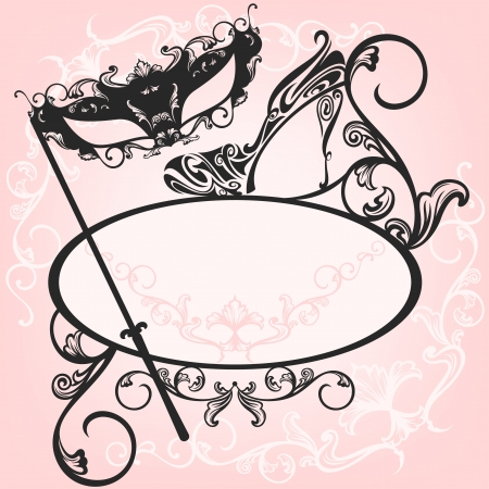 oval:  invitation to masquerade party - elegant vector carnival design with mask and shoe ornate outlines Illustration