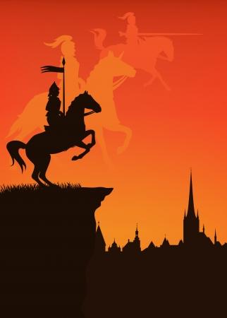 uomo a cavallo: città di epoca medievale con il cavaliere e ombra sagome di guardie al tramonto Vettoriali