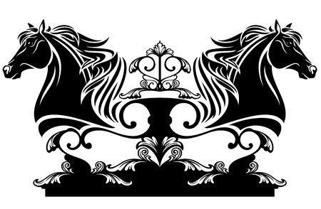 equine:  horse head profile black and white ornate design element Illustration