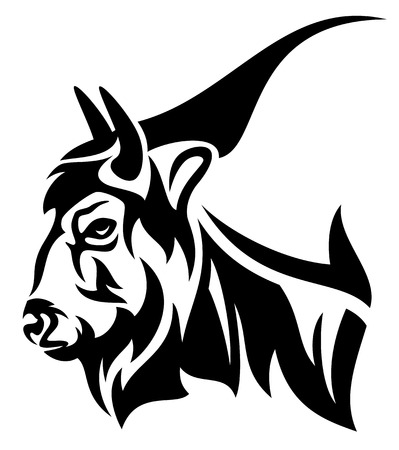 buffalo horn: bison profile head design - black and white vector outline