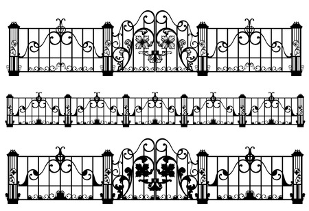 forged:  wrought iron fence and gate detailed black and white outlines Illustration