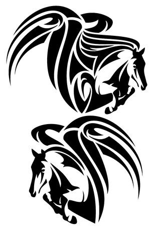 winged:  winged horses emblem