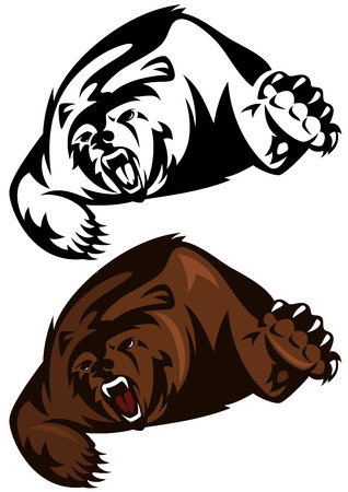 grizzly:  angry brown bear attacking  Illustration