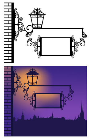 inn or pub sign hanging from a metal pole with lantern - evening scene in old town