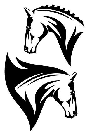horse profile head design - black and white outline