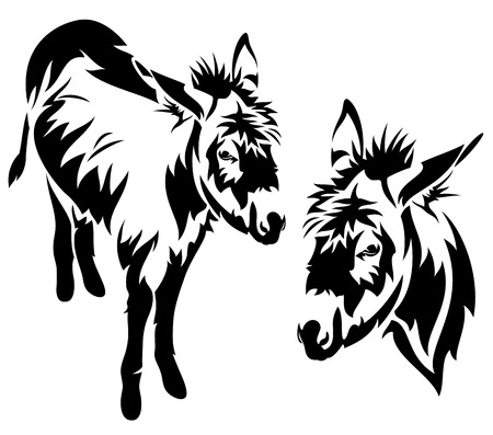 cute donkey vector outline - black and white standing animal Vettoriali