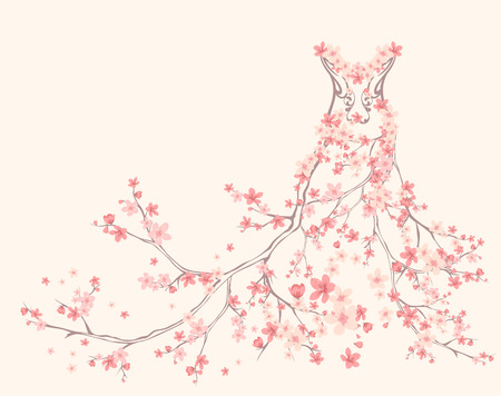 female form:  spring season dress made of tender pink flower branches
