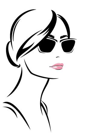 dessin au trait: beau visage de femme avec des lunettes de soleil vecteur de plan - portrait à la mode de fille