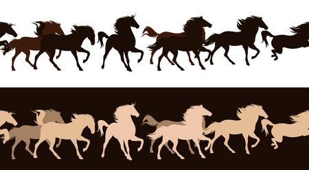 running horses herd contrast outlines - seamless silhouette decor border Vector
