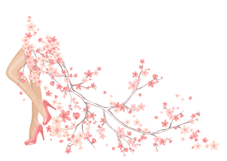 spring season background with beautiful legs and flowers making long skirt Vector