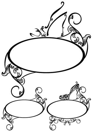 pump shoe:  elegant shoe design elements - set of black and white floral frames Illustration