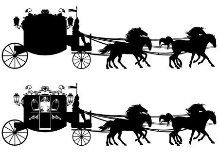 horse drawn carriage:  antique carriage with four running horses - easy editable silhouette Illustration