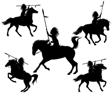 indios americanos: siluetas salvajes del oeste - guerreros nativos americanos a caballo Vectores