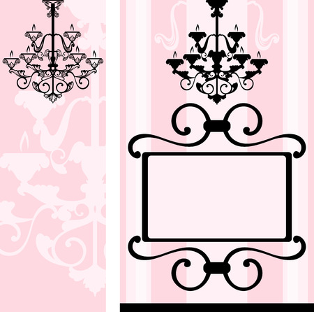 romantic vintage decorative design - house interior banners Vector