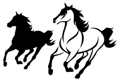 黒と白の馬の輪郭とシルエットを実行します。