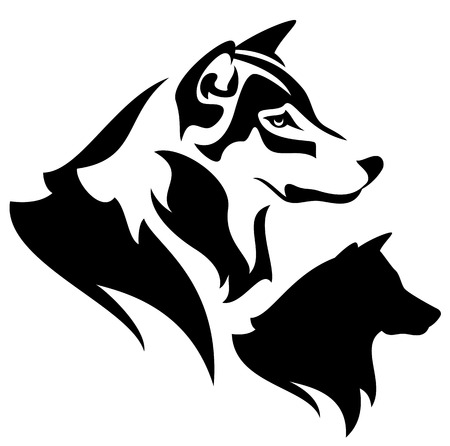 husky:  wolf profile outline and silhouette - black and white design Illustration