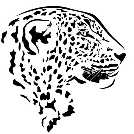 snow leopard: leopard head profile design - black and white animal outline