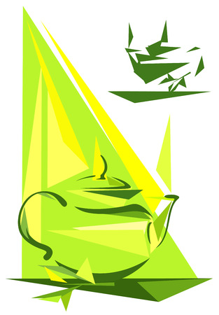 yellow tea pot: green tea - abstract teapot with fresh leaves design