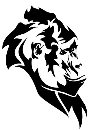 threatened:  wild mountain gorilla head black and white vector outline Illustration