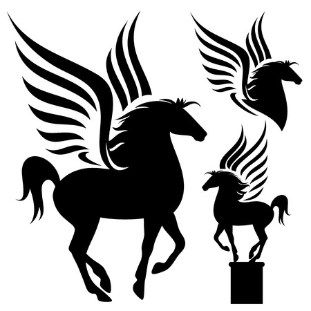 horse fly:  pegasus silhouette set - black winged horses on white Illustration