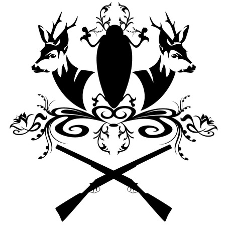 hunting emblem with guns and fallow deer heads - black and white design element Vettoriali