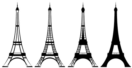 Eiffel tower silhouette and outline design set  Vectores