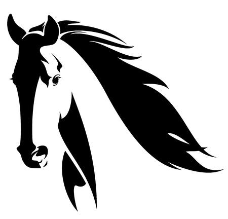 cabeza de caballo: cabeza de caballo con crines volando dise�o de vectores en blanco y negro