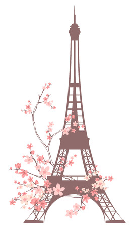 tour eiffel: eiffel tower outline among pink flowers - spring season in Paris