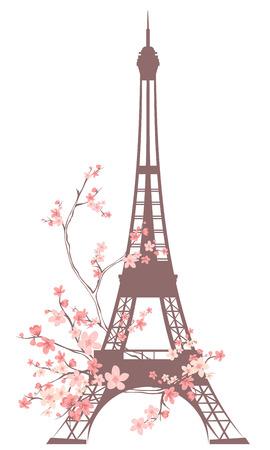 Eiffeltoren schets onder roze bloemen - voorjaar in Parijs Stock Illustratie