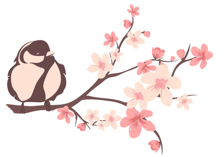 cherries isolated: spring season design element - bird sitting on blooming branch