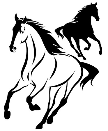 horse black and white outline and silhouette - running animal design