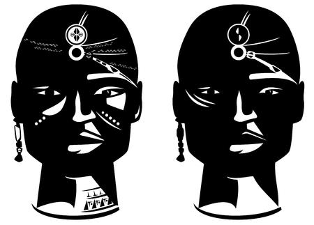 masai warrior face vector design - en face african man head with traditional ornamentation Vector