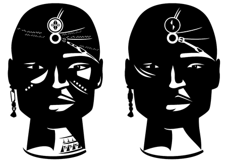 african warriors: masai warrior face vector design - en face african man head with traditional ornamentation Illustration