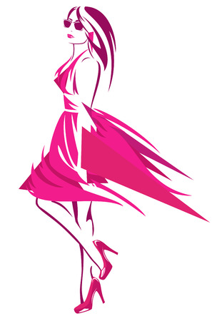 beautiful woman wearing bright pink dress and high heeled shoes - fashion girl abstract design