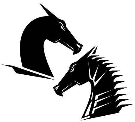 cabeza de dragon: dise�o blanco y negro cabeza de drag�n - perfil de la cabeza del monstruo
