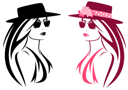 sunglasses isolated: beautiful woman with long hair wearing summer hat decorated with flowers Illustration