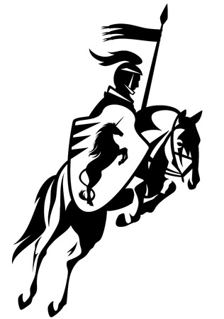 medieval banner: medieval knight with a heraldic unicorn shield riding horse and holding banner - black and white vector outline Illustration