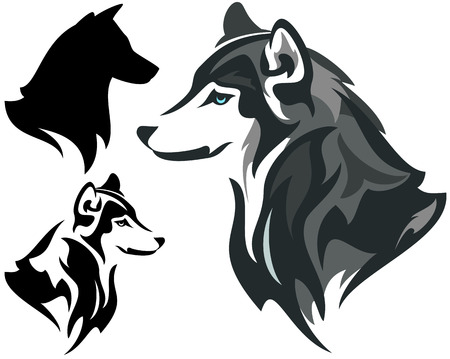 husky dog design  - animal head side view illustration in color and monochrome plus silhouette Vettoriali