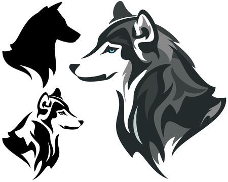 alaskabo: husky hund design - djurhuvud från sidan illustration i färg och svartvitt plus siluett Illustration
