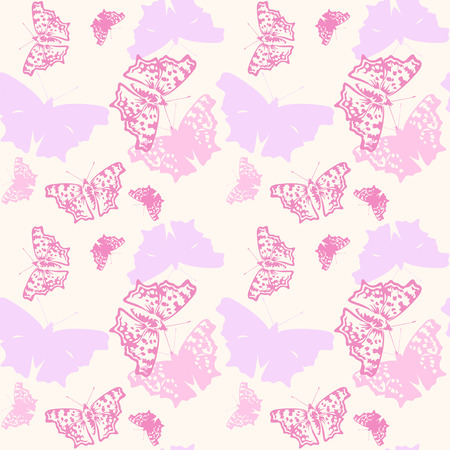 pastel shades: colorful pastel shades butterflies flying against yellow background - seamless pattern