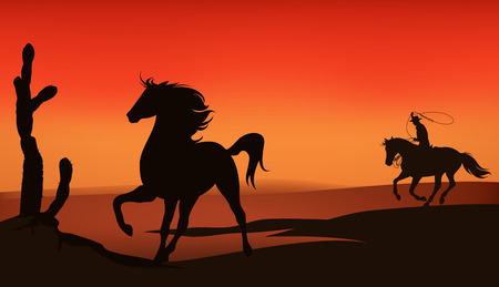 mustang horse: wild west sunset landscape - cowboy chasing a mustang horse