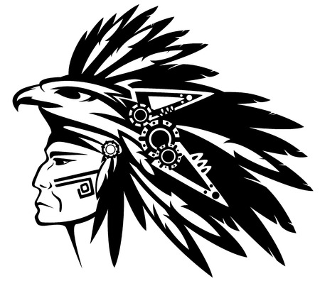 native american art: aztec tribe warrior wearing feather headdress with eagle profile head - black and white vector outline