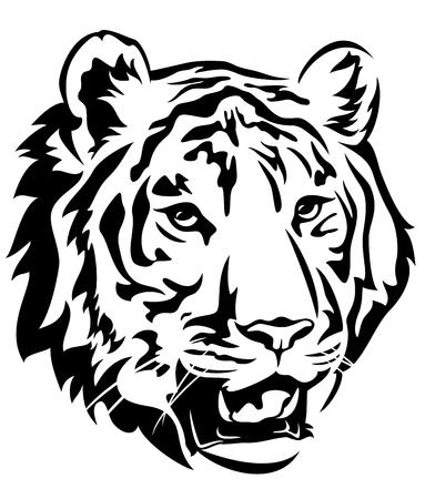 tiger white: tiger head emblem design - big cat black and white vector outline