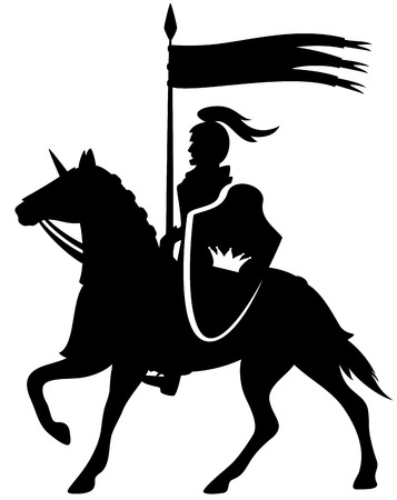 royal knight with a crown shield riding a horse - black vector silhouette on white